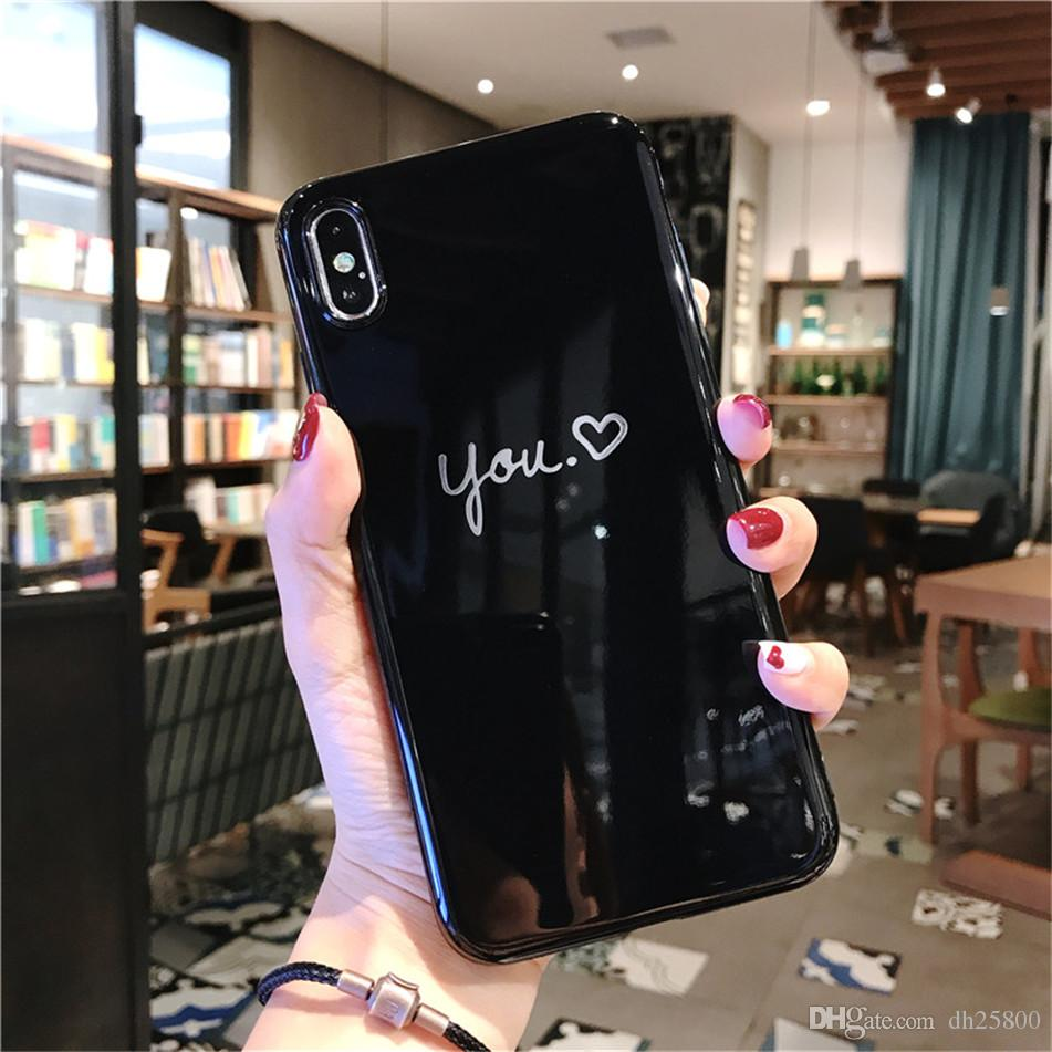 USLION Casal XS Max XR X Amor Do Coração Caixa Do Telefone Para o iphone Tampa Traseira para o iphone 6 6 7 8 s Brilhante Carta Casos Mais T