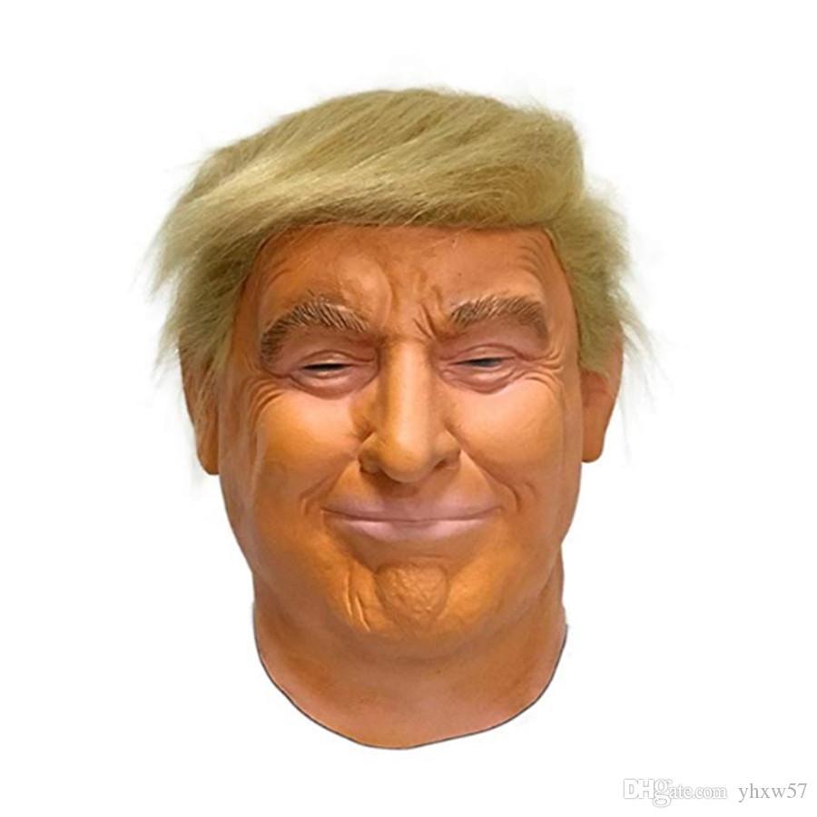 Vestido Donald Trump látex máscara multimillonario presidente de Estados Unidos de América Político del partido de Halloween máscara de lujo del traje cabeza llena