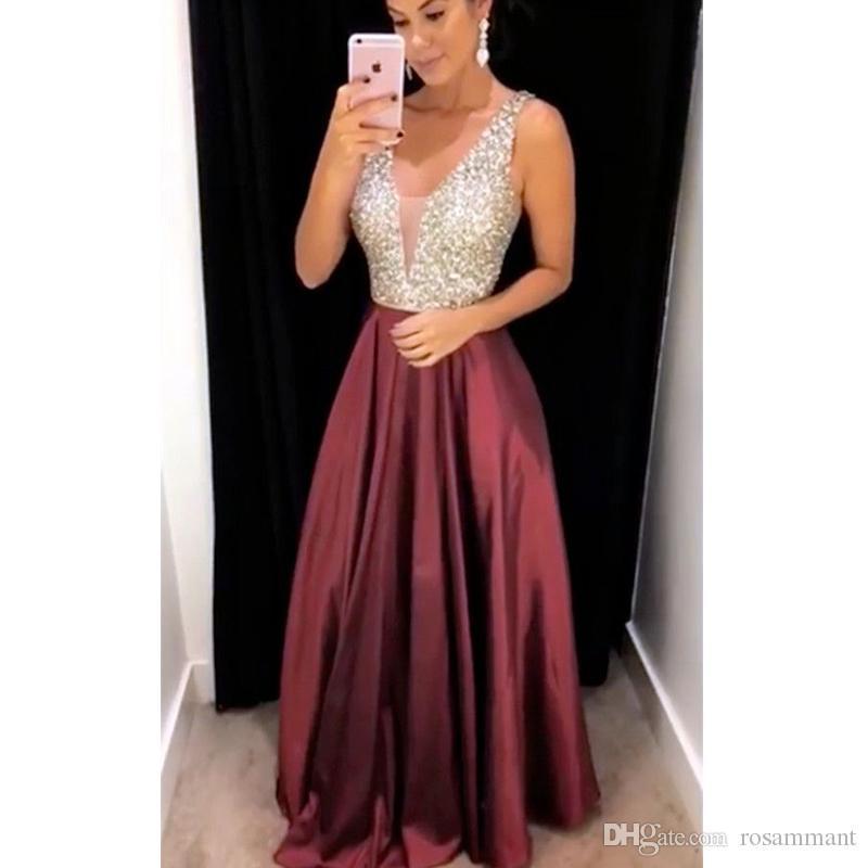 2019 cristal perlé une ligne longue robe de bal sexy sans manches longue robe de soirée en mousseline de soie robe formelle