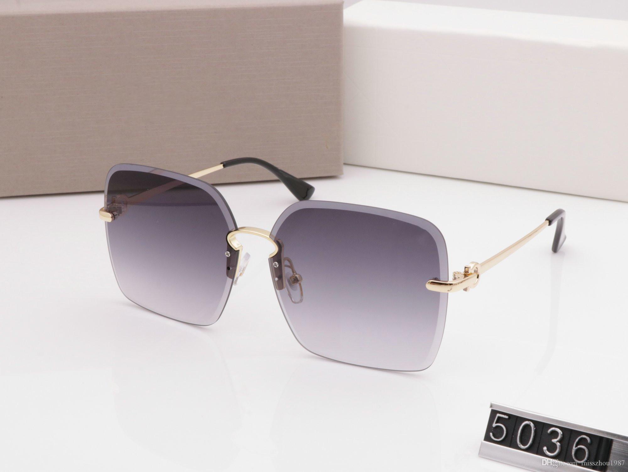 Люкс 5036 Солнцезащитные очки от дизайнеров для ног женщин Модные солнцезащитные очки Wrap Sunglass бескаркасных покрытие Зеркало объектива Carbon Fiber Summer Style