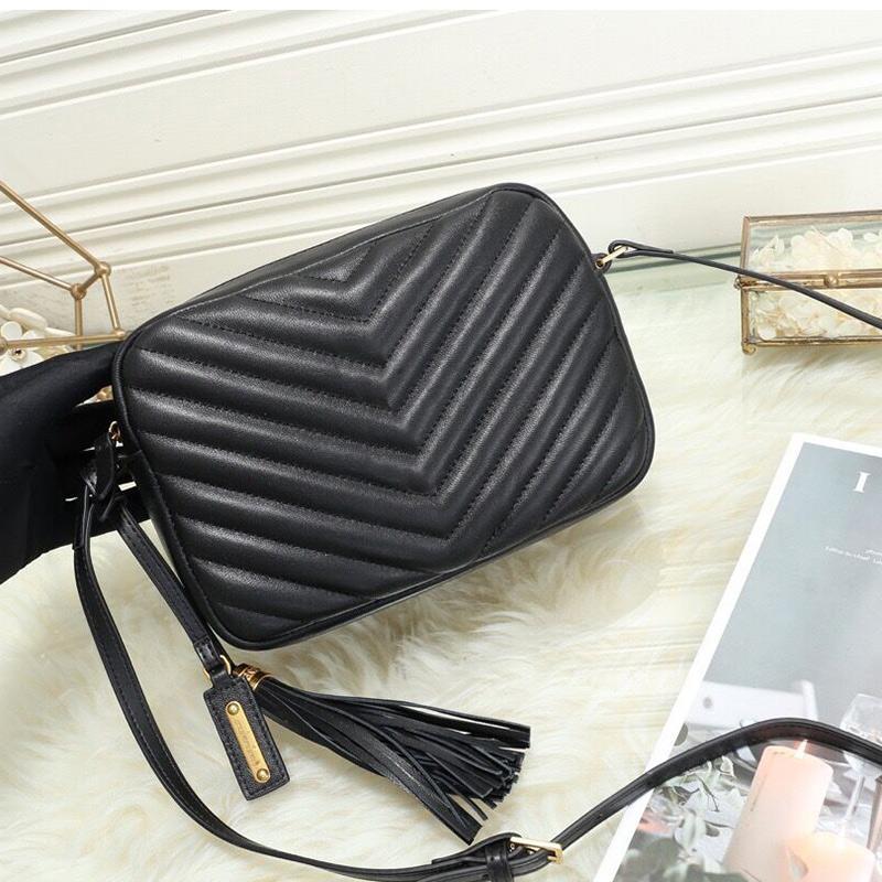 классическая V форма щитка камеры тотализатор Женская сумка овчины сумки модные кисточка натуральная кожа одного плеча Crossbody сумки площади пакет