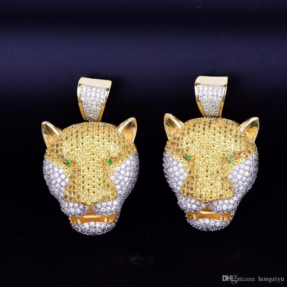 Аминал мужская леопардовая голова кулон ожерелья с теннисной цепочкой золотой цвет лед из кубического Циркона рок-стрит хип-хоп ювелирные изделия