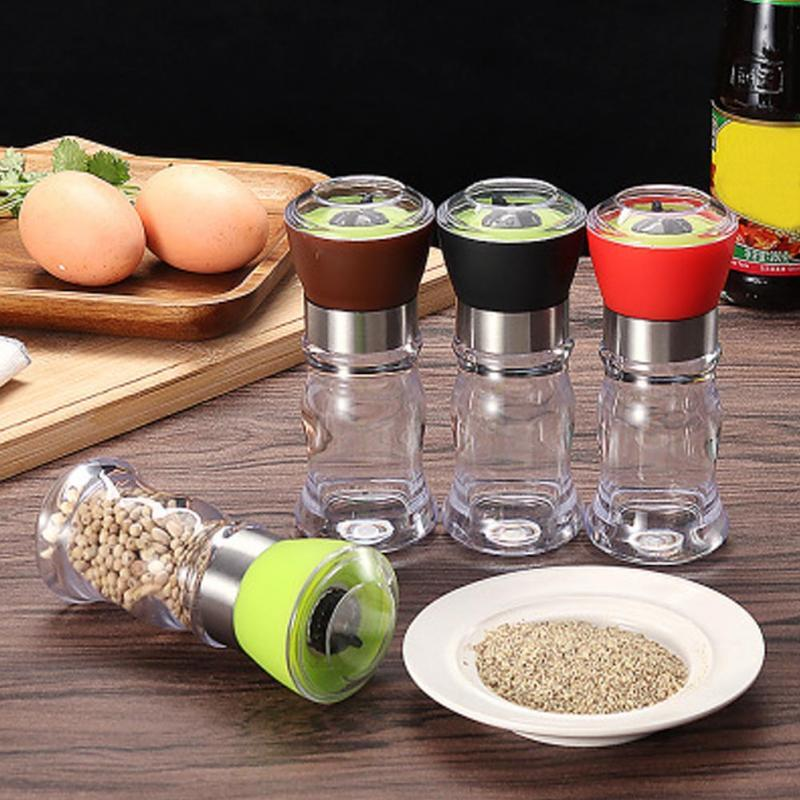 Kitchen Grinding Bottles Tools Salt Pepper Mill Grinder Pepper Grinders Shaker Spice Container Seasoning Condiment Jar Holder 2pcs/set