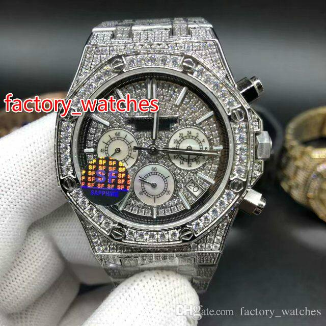 Tam elmas parlak kuvars İzle 41mm bling buzlu gümüş çelik kasa gümüş elmas yüz VK Chronograph tam buzlu saatler ücretsiz kargo