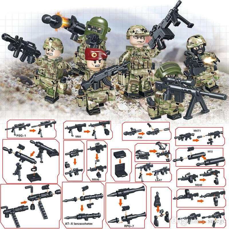 Modern WarKitoz Russian Alpha Force Army Building Block Toy Mini Military Soldier Figure Set Brick Toy for Children