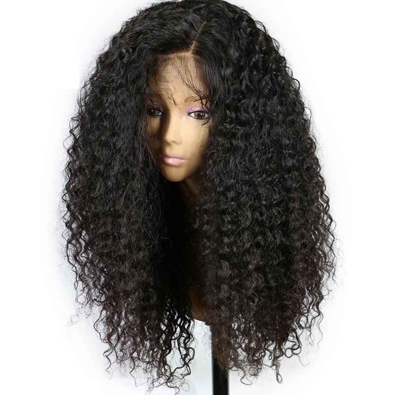 Naturel Noir Crépus Bouclés Avant De Lacet Perruque Avec Bébé Cheveux Résistant À La Chaleur Synthétique Fiber Perruque Pour Les Femmes Noires