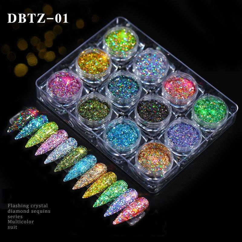 혼합 패키지 여름 핫 세일을 기어 오르는 12 색 / 세트 네일 글리터 분말 깜박임 크리스탈 다이아몬드 장식 조각 시리즈 여러 가지 빛깔의 정장 파인