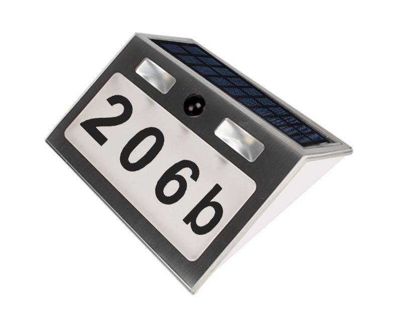 Paslanmaz Çelik Güneş Enerjili LED Ev Numarası Lamba Açık Kapı Dış Duvar Işareti Işık Sensörü Otomatik Anahtarı