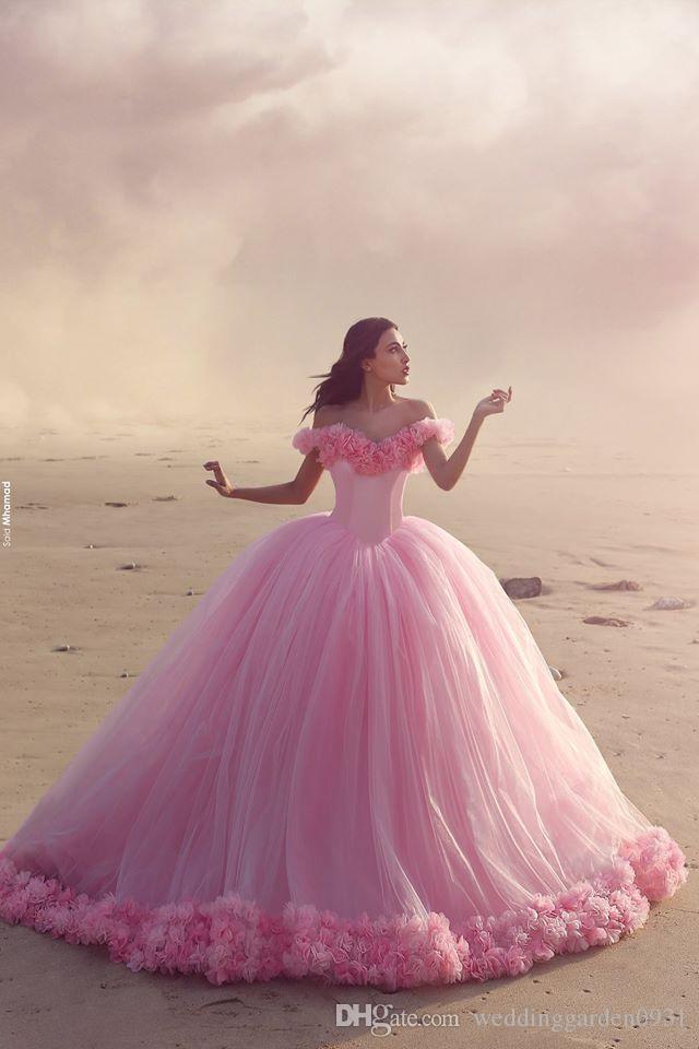 Pink 2019 Princess Quinceanera Dresses Off Shoulder Handmade Flowers Sweep Train Prom Dresses Sweet 15 Dress Abendkleider Vestidos 15 Anos Dress Long