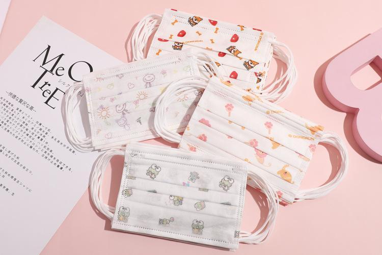 Real disponible para niños de 3 capas respirador Niños para niños de dibujos animados de la boca Máscara Anti polución y niñas Imprimir Mascarillas