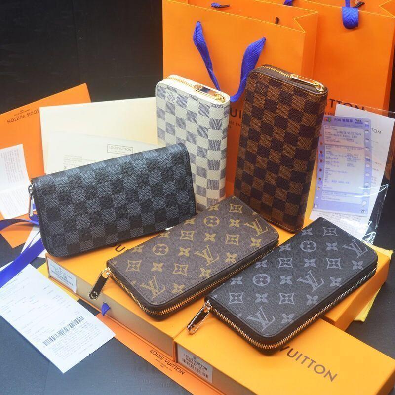 turuncu kutu kartıyla 600.171 ile toptan 6 renkler moda tek fermuar erkekler kadınlar deri cüzdan bayan bayanlar uzun çanta