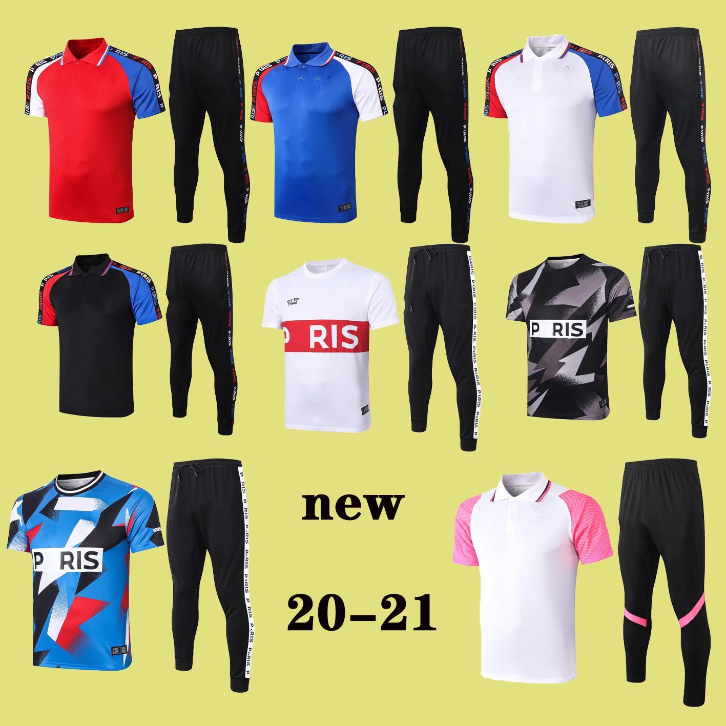 2020 2021 paris Jor MBAPPE Verratti yetişkin POLO gömlek futbol eşofman 20 21 CAVANI Kısa kollu POLO gömlek uzun pantolon futbol tren