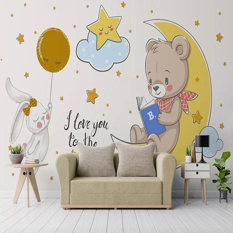 Costume grande mural 3D papel de parede dos desenhos animados nórdico minimalista bonito urso lua quarto mural de TV volta a decoração da parede profunda 5D em relevo