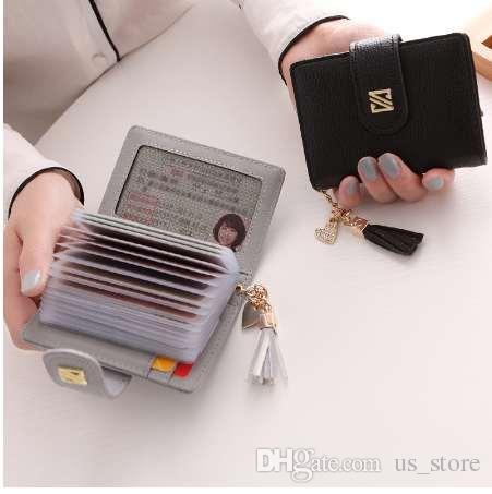 Neue Frauen synthetische PU-Leder Quaste feste Kreditkarte ID kurze Kartenhalter Business