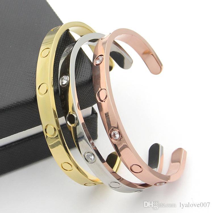 amore di alta qualità Stainlese Steel Rose Gold Jewelry placcato del braccialetto del polso del braccialetto di amore Bracciali vite regalo per gli amanti per le donne gli uomini