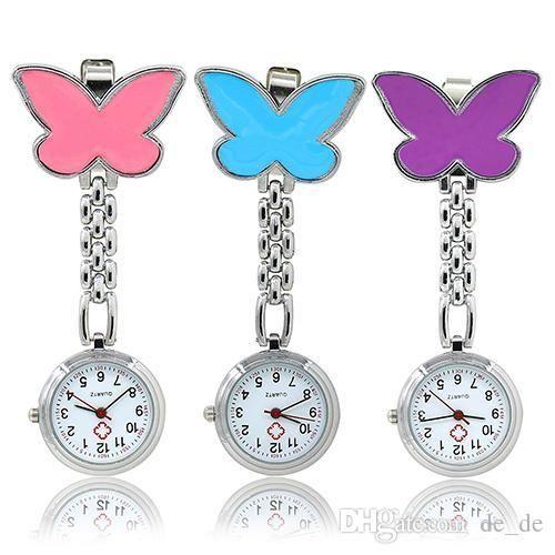 Frauen süße Anhänger Schmetterling Krankenschwester Clip-On Brosche Quarz hängen Taschenuhr Geburtstagsgeschenke