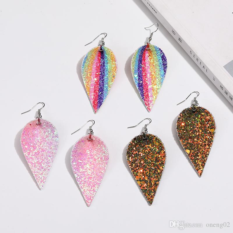 Unique Design Christmas PU Leather Leaf Oval Earrings Fashion Sequin Glitter Colorful Double Side Dangle Earring Jewelry Gifts for Women