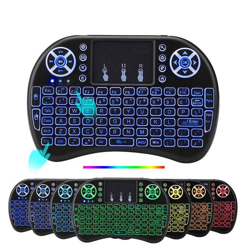 50шт Rii I8 с подсветкой беспроводная клавиатура подсветка воздуха мышь пульт дистанционного управления с сенсорной панелью для X96 Mini Max Android TV Box самый дешевый на Dhgate