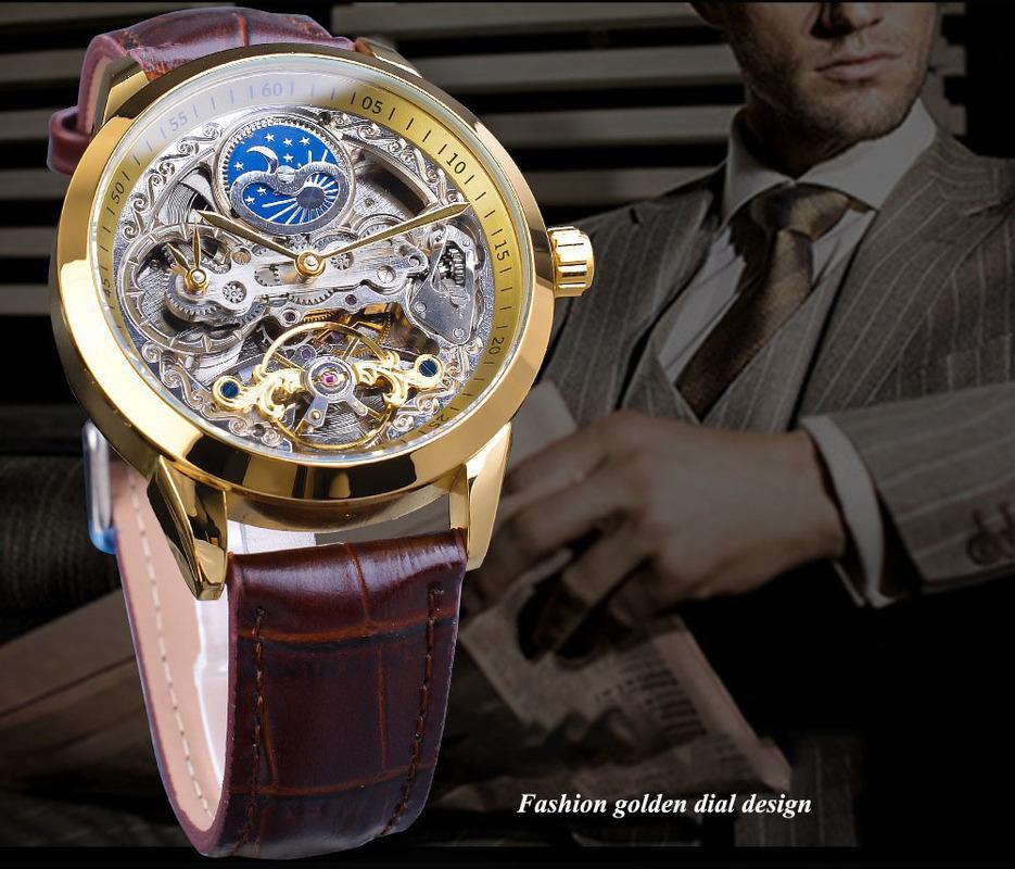 New High Quality Luxury European and American Men's Fashion Wristwatch Leisure Hollow Mechanical Waterproof Automatic Mechanical Belt Watch