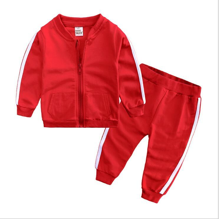 2020 Kartal Çocuklar Setleri 1-3 T Çocuklar Hırka Fermuar Mont Pantolon 2 Adet / takım Çocuk Spor Setleri Uzun Kollu Kare Logo Çocuklar Yaz Suit