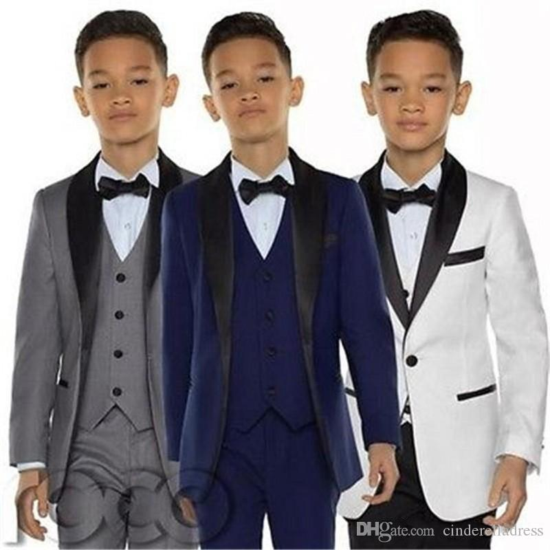 Custom Made Boy smoking scialle risvolto One Button bambini abbigliamento per bambini festa di nozze del vestito Boy Set (Jacket + Pants + vest)