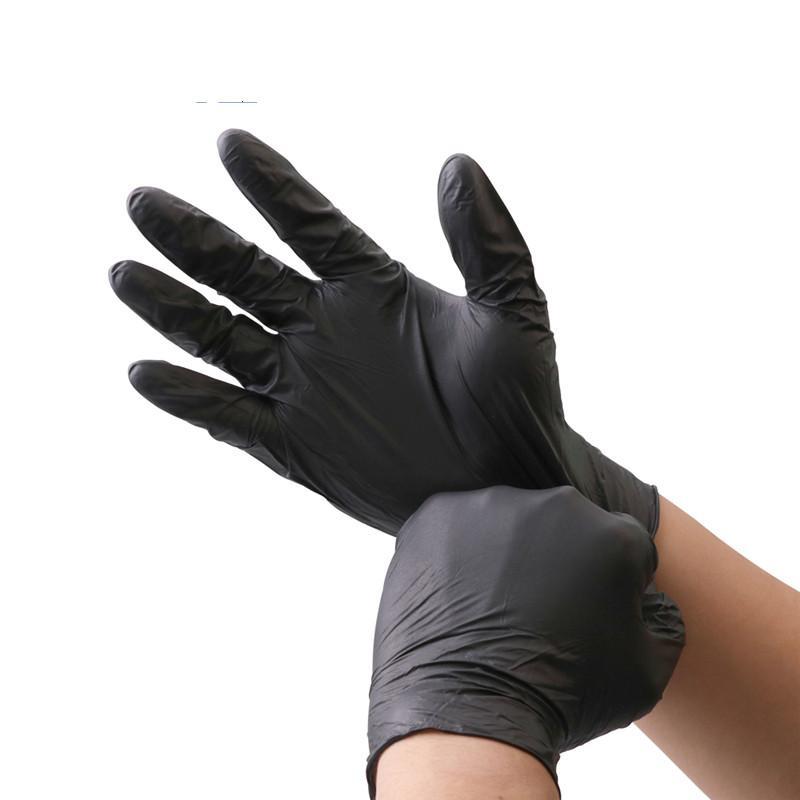 Luvas de borracha nitrílica preto 6pcs / lot Food classe impermeável Luvas Alergia Livre descartável Segurança do Trabalho de borracha nitrílica Luvas Mecânico