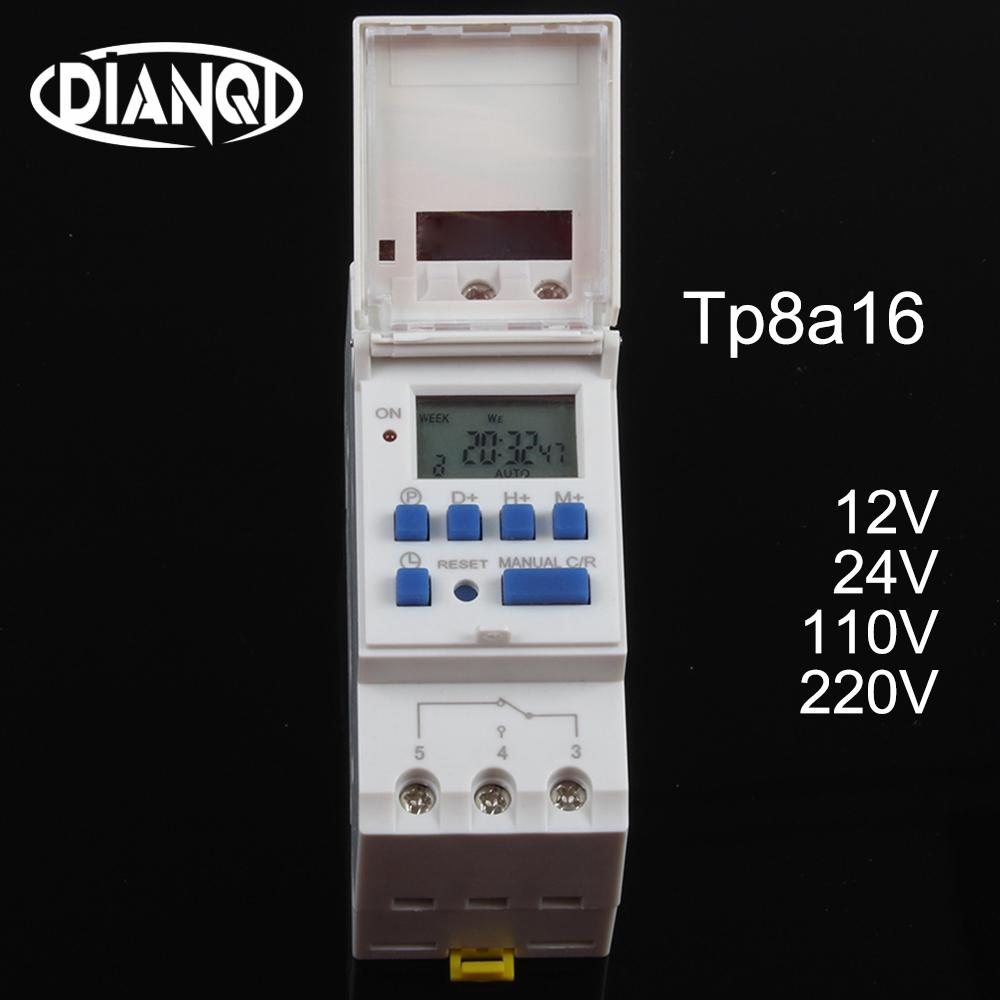 Timer switch din rail digital TP8A16 weekly programmable electronic microcomputer time switch 220V 230V 6A-30A 12V AC bell ring