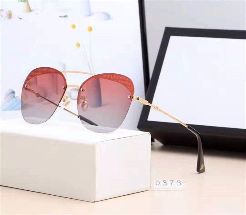 Novedades Gafas de sol para mujer de la marca Highend 6 colores Gafas de sol de exterior de alta calidad con juego completo de embalaje 0373.