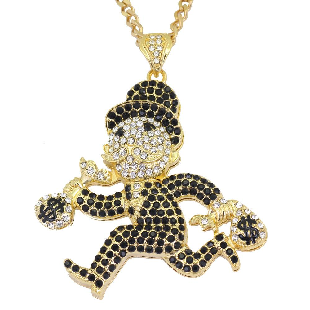 White And Black Diamond Necklace Running Man Style Pendant Necklace For Hip Hop Men And Women Jewelry Creative Design