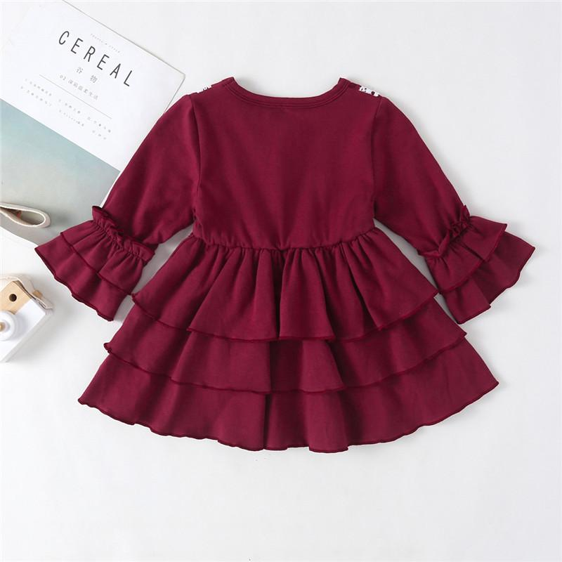 0-3Y Newborn Infant Kids Baby Girl Dress Solid Long Sleeve Ruffle Layered Princess Party Dress Sundress Girl Clothes Outfits