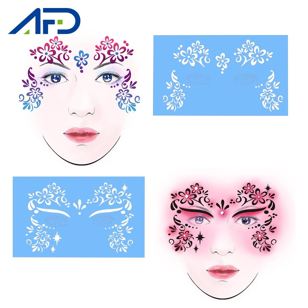 5 Pattern Reusable Face Eye Paint Stencil Fancy Dress Makeup Tattoo Template