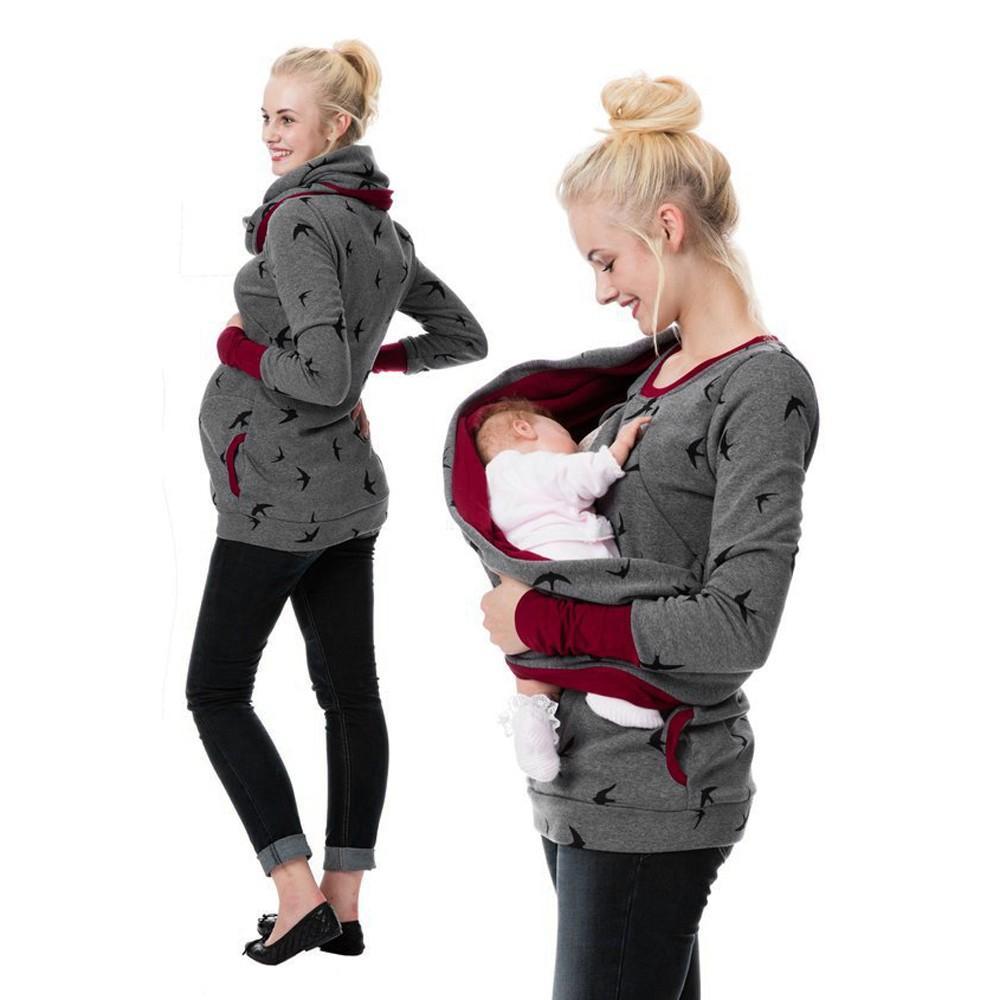 출산 옷 면화 간호 임신 후디 티 여성용 스웨터 셔츠 모유 수유 점퍼 탑스 모유 수유 셔츠