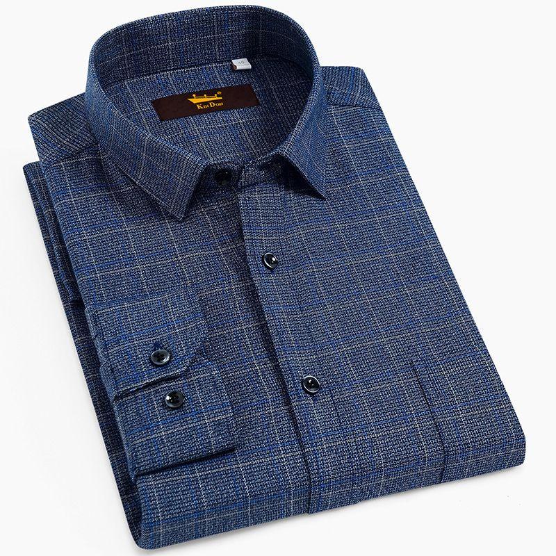 Männer Standard-Fit Langarm-Brushed Plaid kariertes Hemd mit Brusttasche Knopfverschluss beiläufiger 100% Baumwollhemden