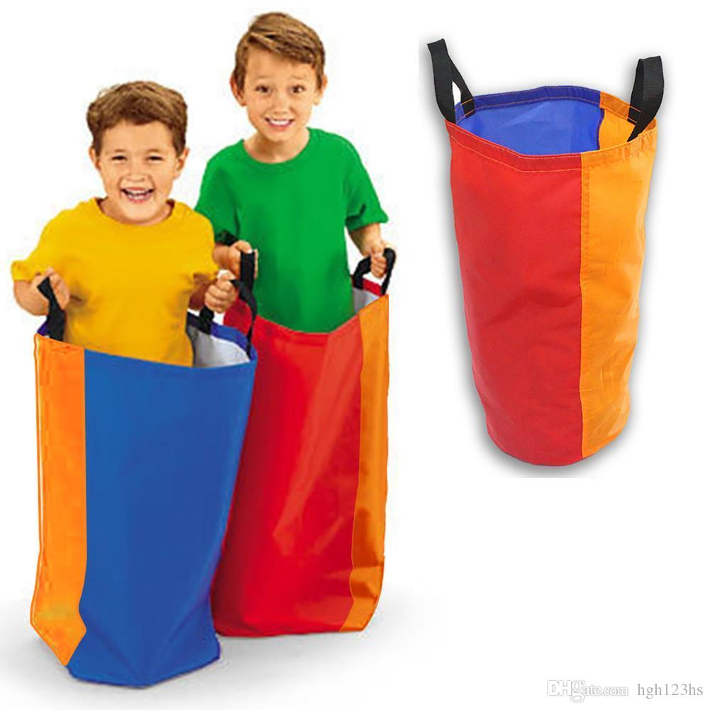 Funny Colorful Blocking Jumping Bag Children Adults Outdoor Training Activity Race Sack Game Interactive Toy