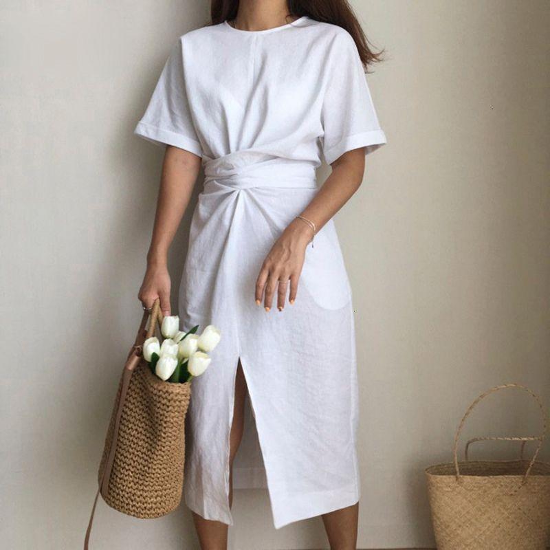 Mulheres Vestidos Mulheres Roupa Coreia do Projeto Verão Vestidos Cor solto O Neck Natural cintura Dividir Vintage A Fork Fashion Dress Mulheres