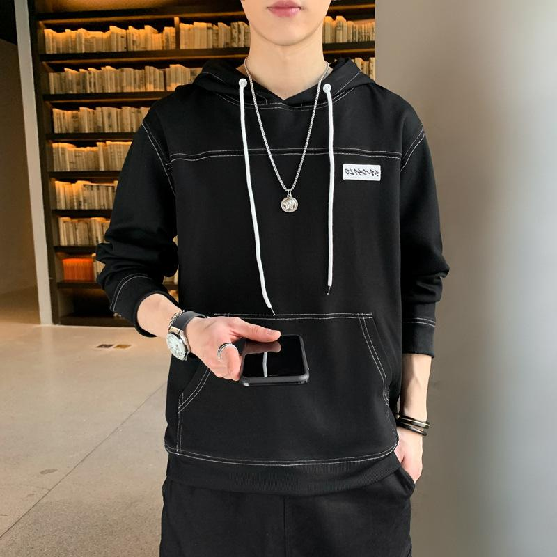 Autumn thin men's capoted pullover letter long sleover large size casual long sleover men