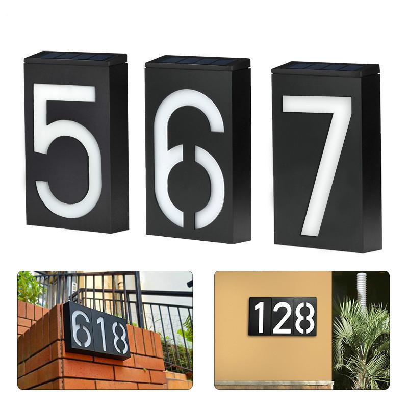 Creative Solar Address Number Plate Sign Lamp Solar Powered House Number Doorplate Lamps 6 LED Lights Hotel Door Digital Solar Light