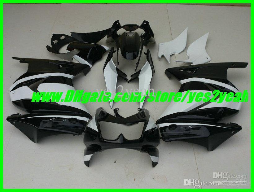 Kit corpo carenatura iniezione per carrozzeria KAWASAKI Ninja ZX250R ZX 250R 2008 2012 EX250 08 09 10 12 Set carene bianco nero