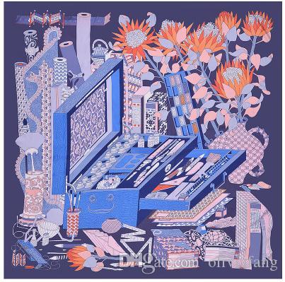 130 * 130см Большие квадратные шарфы Модный дизайнер цветочные шарфы и платки Обертывания Хиджабы Повязка на голову головной платок на пляже Прикрытие Шелковые женские шарфы