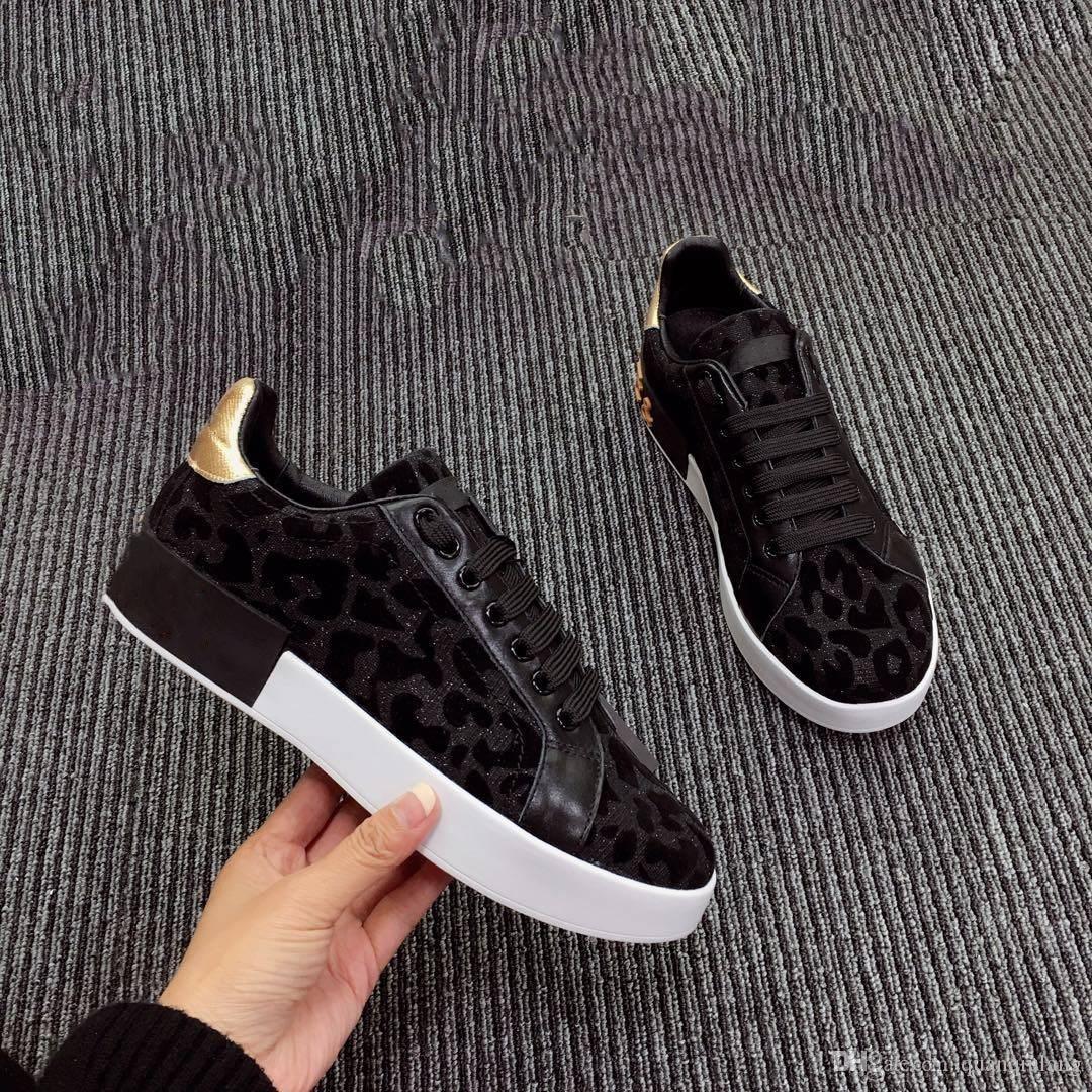Наппа телячьей кожи изменение цвета леопардовой ткани Портофино кроссовки Италия бренд дизайнер женщин на шнуровке кроссовки большой размер с коробкой EU41