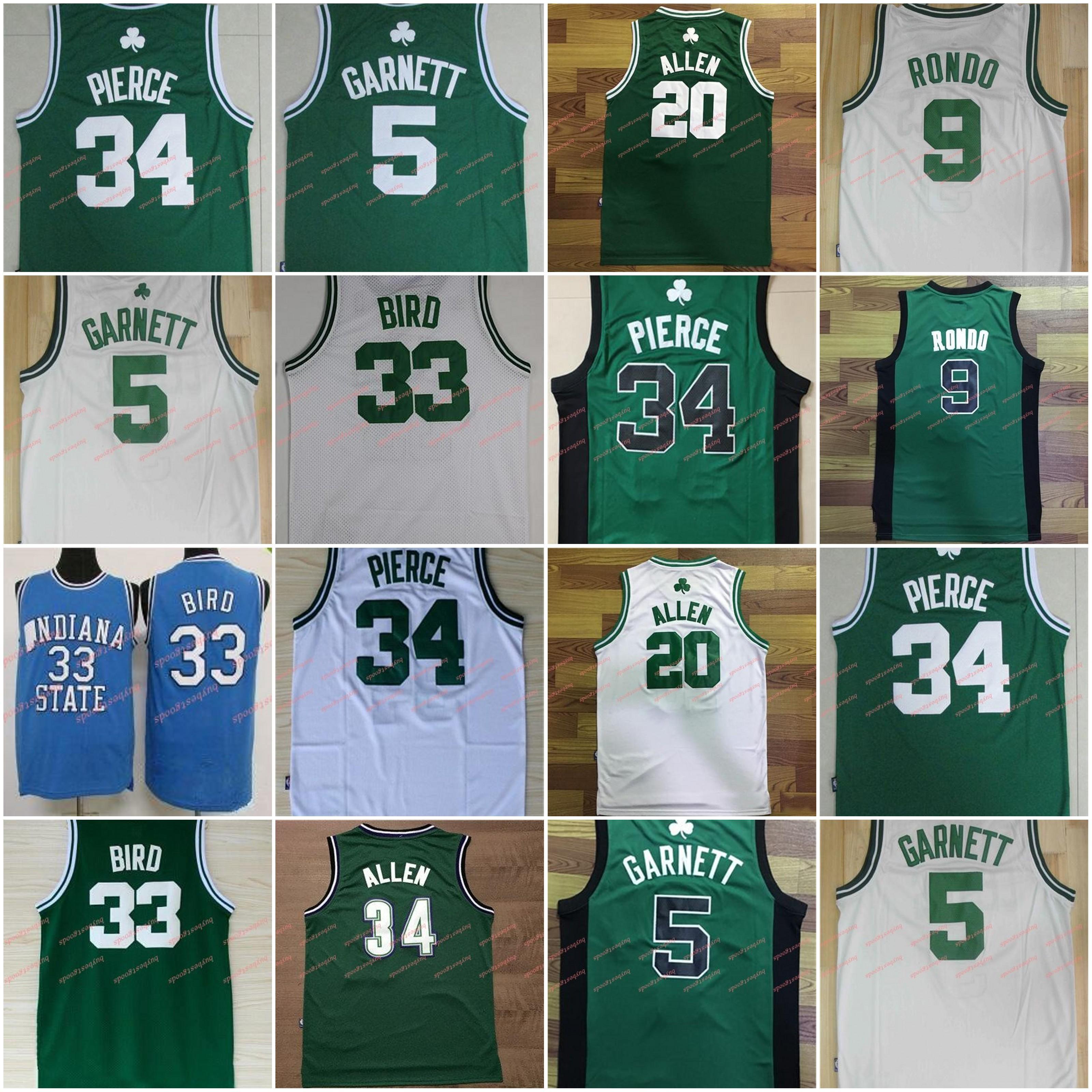 الرجال 5 كيفن غارنيت جيرسي 9 راجون روندو 20 راي الن جيرسي 34 بول بيرس كرة السلة بالقميص الأبيض الأخضر مخيط رخيصة