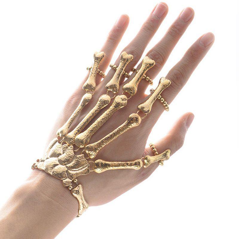 Regalo divertente festa punk braccialetto dito scheletro scheletro mano osso decorazione gotica braccialetto dito partito