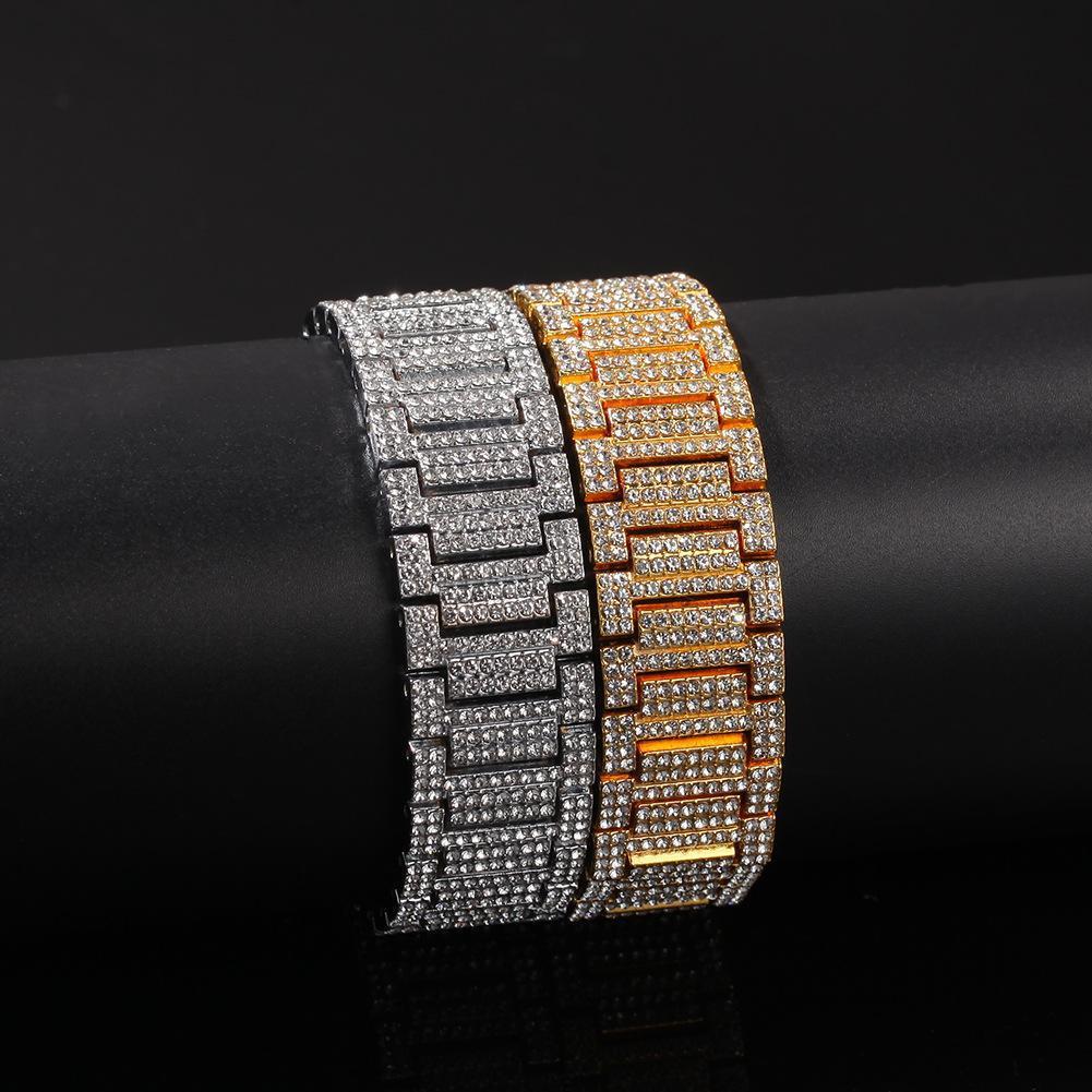 Hip Hop Bling Bling Iced Out Tennis Chains bracelet Width 21mm Rhinestone Gold Silver Men Women Bracelet Bangle Fashion Jewelry Gift
