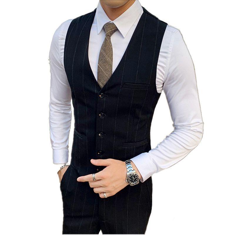 hombre de primavera y otoño chaleco y pantalones de traje ocasional del sistema de negocios de alta calidad chaleco de los hombres de los pantalones gris chaleco hombres negros 3XL pantalón
