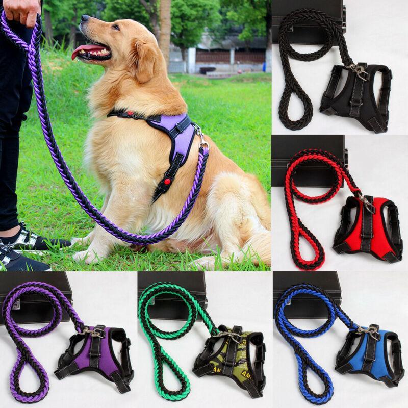 Büyük Pet Köpek Yaka Harness Tasmalar Seti Ayarlanabilir çekiş Halat Yürüyüşü Köpek Zinciri Pet Harness Vest Kurşun