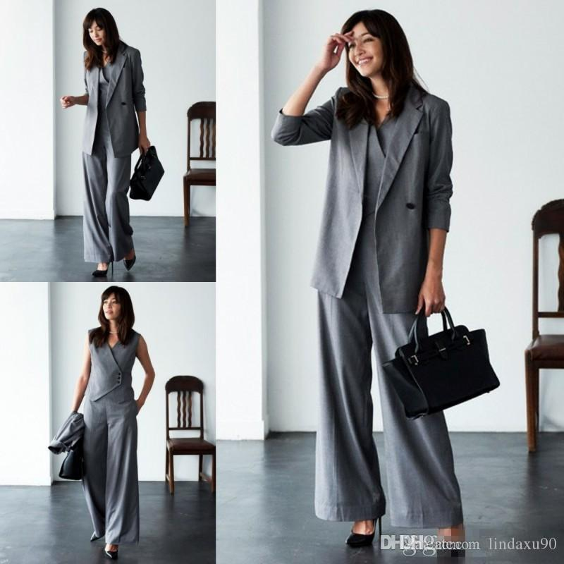 Newest Mother Of The Bride Pant Suits For Wedding Grey Three Pieces Long Sleeve Women Suits Plus Size Evening Gowns