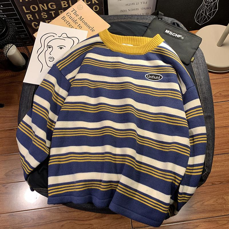 2019 Autumn New Fashion Casual Trend Korean Version Of The Striped Knit Round Neck Pullover Wild Handsome Couple Sweater