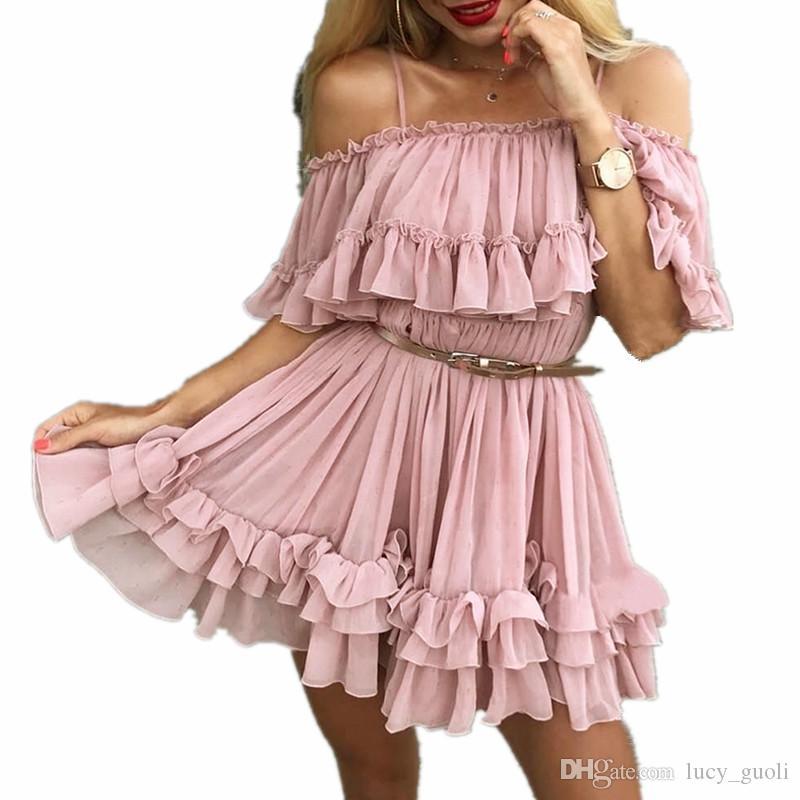 Ladies Off Shoulder Strap Chiffon Summer Dresses Women Ruffle Pleated Short Dress Women Backless Holiday Boho Dress Loose Casual Solid Dress