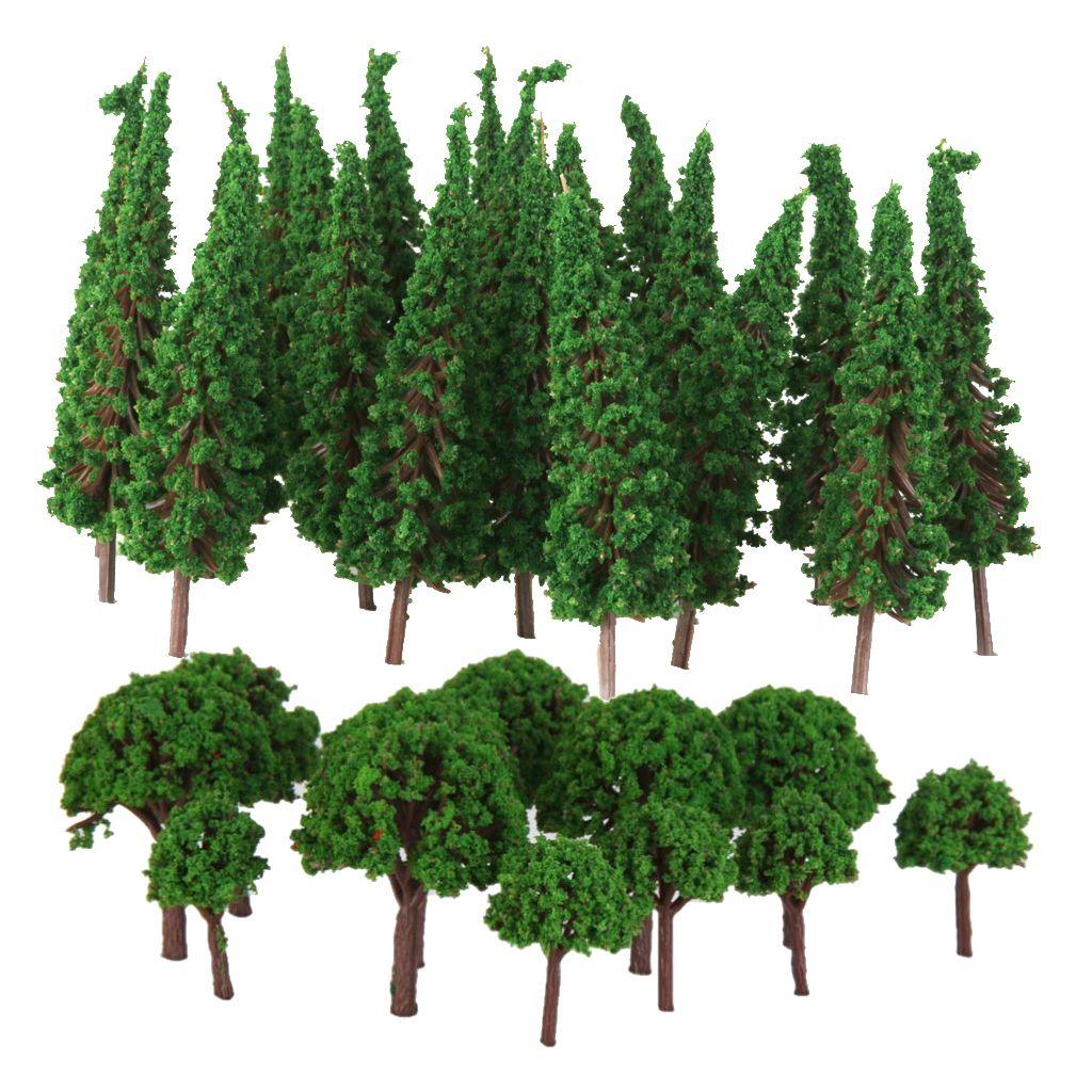 100pcs Modeli Ağaçlar 1/100 HO Ölçek Yatay Yapı Wargame Manzara Düzen