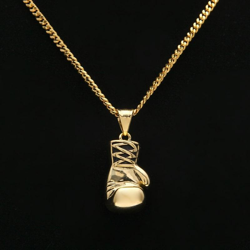 Mens Hip Hop Necklace Jewelry Stainless Steel Boxing Gloves Pendant Necklace With 60cm Gold Cuban Chain